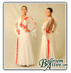 Smooth Ballroom Gown White and Red